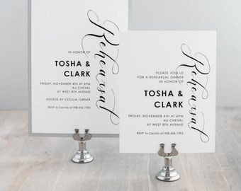 "Calligraphy Rehearsal Dinner Invitations, Modern Wedding Rehearsal Invitation, Black &White - Customizable Wording/Ink/Font - ""Black Script"""