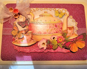 Tea Time, Handmade Greeting Card, Mothers Day, Thinking of You,Get Well