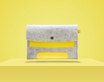 "10%DISCOUNT iPad Mini 2. 7,9"" / iPad Mini 4. 7,9"". Lemon Yellow Leather & Light Grey Wool Felt."