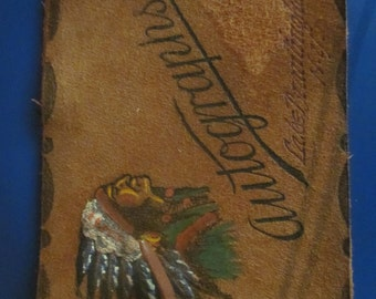 leather souvenier autograph book,,indian, new york,,vintage autograph book
