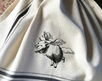 When Pigs Fly! Flying pig embroidered kitchen towel
