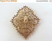 MOVING SALE Half Off Awesome Vintage Ornate Gold Tone Metal Brooch signed Gerrys perfect Assemblage piece