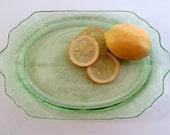 Vintage green depression glass platter 1940s