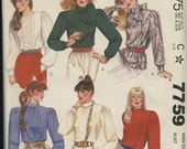 McCall's 7759 Long Sleeve Blouse Size 12 / Bust 34 Retro 80s Vintage Sewing Pattern