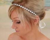 ON SALE Bridal Headband, Bridal Hair Piece, Parker, Accessories, Bridal, Wedding Hairpiece, Bridal Ribbon Headband, Floral Headpiece, Ribbon