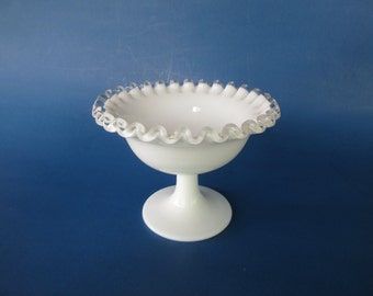 Fenton Silver Crest Milk Glass Footed Nut Dish 7229 Vintage White Wedding Decor