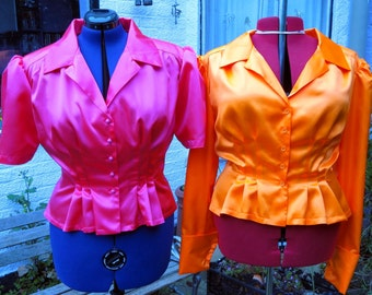 1940s style peplum blouse in any colour satin blouse