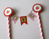 Strawberry Birthday Cake Bunting, Strawberry Party Cake Bunting, Strawberry Shortcake Party, Strawberry Party Theme, Girl Birthday (STRW-1)