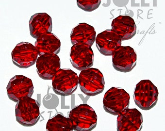 6mm Round Faceted Beads - Ruby Translucent - 500 piece bag