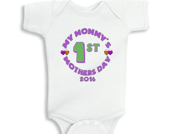 My Mommy's 1st Mothers Day 2016 Round Baby Girl bodysuit