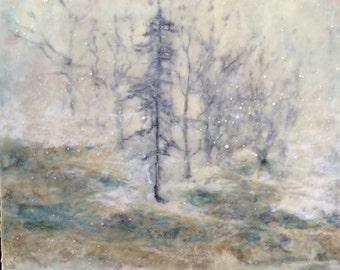 Winter encaustic painting