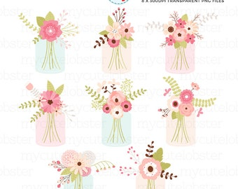 Pretty Mason Jar Flowers Clipart Set - florals, wedding flowers, flowers in jars - personal use, small commercial use, instant download