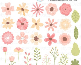 Pretty Flower Elements Clipart Set - leaves, buds, floral, pretty flower clip art - personal use, small commercial use, instant download