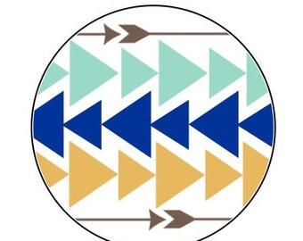"Tribal Chevron / Arrow Envelope seals- 16 white round labels/seals 1.2"""