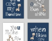 Giraffe Art // You are my sunshine Navy Blue and Gray Art Prints // Navy Nursery Decor // Navy Blue Nursery Wall Art // Four PRINTS ONLY