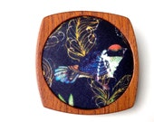Wooden Brooch / Pendant - Liberty of London and Mahogany - Beautiful Bird fabric
