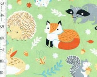 Critter Patch Clothworks Organic Fabrics Y1297-20 Light Green Bunnies Fox Owls Hedgehogs Raccoons oop htf out of print hard to find One Yard