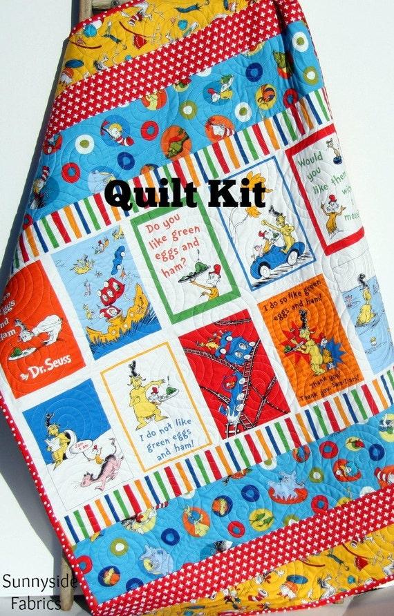 LAST ONES Dr Seuss Quilt Kit, Toddler Throw Stripes Panel, Dr ... : dr suess quilt - Adamdwight.com