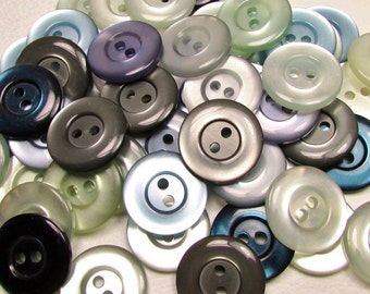"The Cooler Color Mix: 3/4"" (19mm) Button Assortment - Set of 50 New / Unused Matching-Style Buttons"