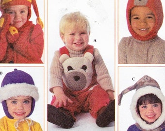 Simplicity 7866 Christmas Overalls and Accessories Caps Bear, Mittens Tops Uncut Pattern