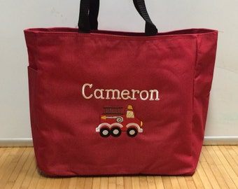 Personalized Baby Kids Firetruck  Diaper Bag Tote
