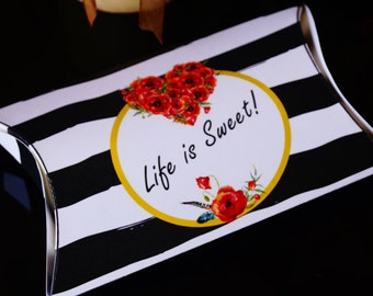 Poppy Wedding Pillow Favor box, Poppy wedding theme, Poppy watercolor,  Wedding favors, Poppy wedding favors, Wedding favor box. Set of 10.
