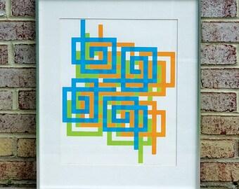 "Mid Century Framed Color Silkscreen by artist Louise Crumheim '73 titled ""Fourfold"" 4/10"