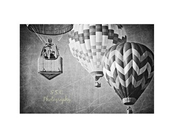 Hot Air Balloon Photography. Black and White Wall Art. Vintage Style. Retro. Whimsical. Nursery Decor.