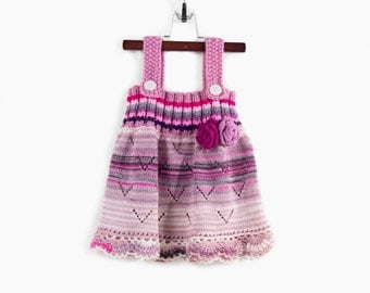 Knitted Girl Dress - Pink Lavender Tones, 1 - 2 years