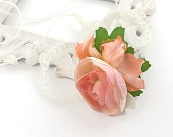 Pink Rose Flower Crown Headband - Newborn Photography Prop, Forehead Tie  for newborn, Girls Headband, Birthday Gift, Baby Shower Gift