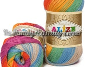 Alize Diva Batik Design Yarn with silk effect Hypoallergenic Microfiber selfstriping. Colour of your choice. Set of 5 skeins. Wholesale. DSH