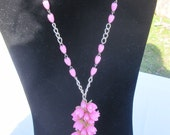 Molded Plastic Pink Tulip Bead and Chain Pendant Necklace Hong Kong