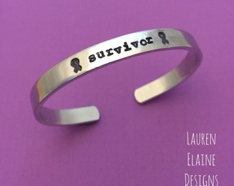 Cancer Survivor- Hand Stamped Cuff Bracelet- Awareness Ribbon
