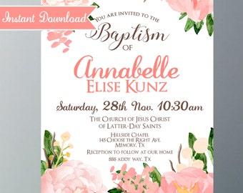 LDS Baptism Printable Invitation - Girl - Pink Floral Water color - Baptism Announcement - Printable instant Download