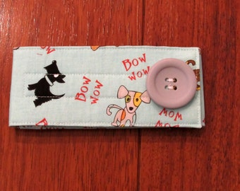 Sale Riley Blake Blue Puppy Diaper Strap with Matching Gray Button