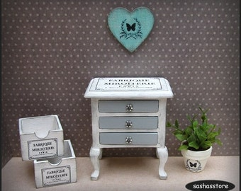 Dollhouse miniature shabby chic sideboard table with french advertising, 1:12 scale furniture, shabby miniature