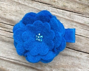 Bright Blue Beaded Felt Flower Hair Clip Clippie Babies, Toddlers, Girls