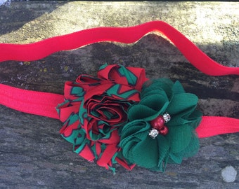 Christmas Red and Green Double Shabby Frayed Chiffon Flower Headband Babies,Toddlers, Girls