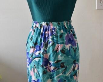 Vtg 80's floral cotton high waisted skirt