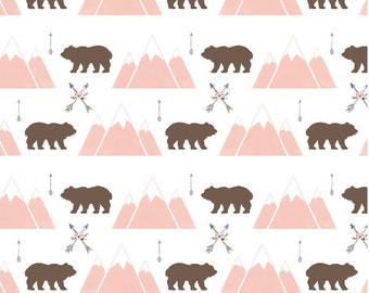 Grace and Cruz EXCLUSIVE Fabrics Design Your Own - Mountains and Bears in Brown and Blush + Pink  Floral with tossed Arrows and Feathers