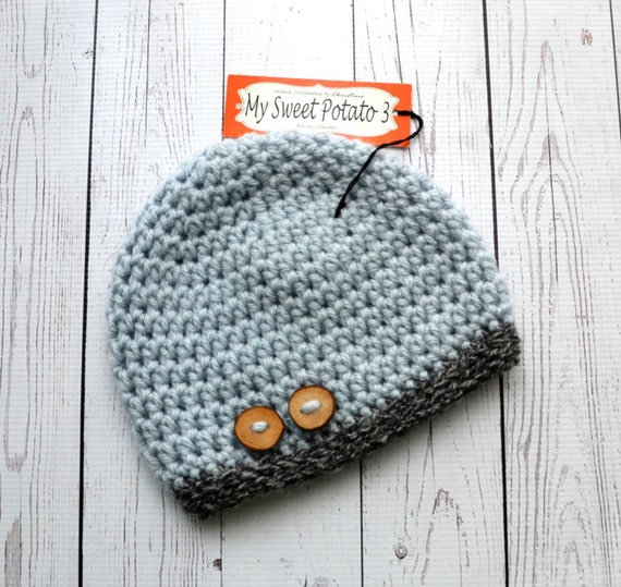 Grey Beanie with Wooden Buttons