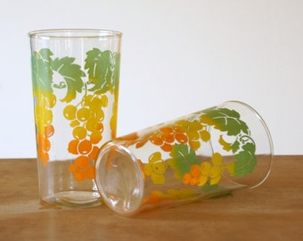 Ombre Drinking Glasses, Anchor Hocking Glasses, Harvest Table, Vintage Decorated Tumblers, Fall Decor