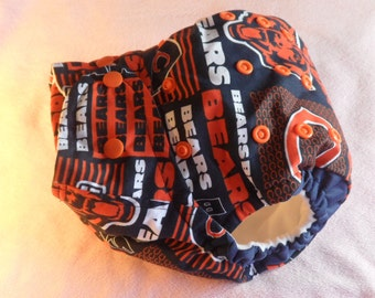 SassyCloth one size pocket diaper with Chicago Bears blocks cotton print. Ready to ship.