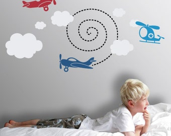 Kids Decor : Planes Up In the Air - Nursery Wall Decal
