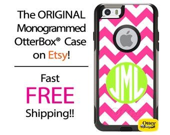 iPhone OtterBox Commuter Case for iPhone 7, 7 Plus, 6/6s, 6 Plus/6s Plus, 5/5s/SE, 5c Galaxy S7 S6 S5 Note 5 Monogrammed Pink Chevron Case