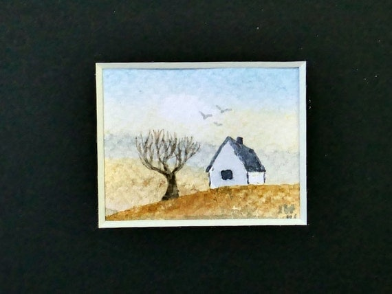 Watercolor Landscape Miniature Painting In A Black Mat