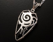 """Tribal design Chinese character""""Courage"""" silver pendant with an unknown natural stone"""