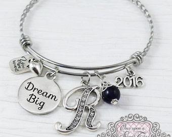 Graduation Gift, DREAM BIG, Letter 2016 Bangle Bracelet- Jewelry- High school Graduation Gift,College Grad Gift,Graduate, Grad, 2016 GRAD