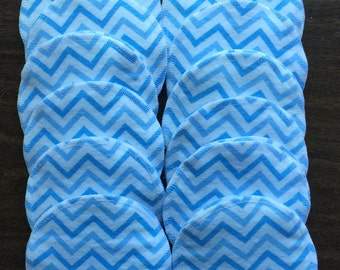 Nursing pads/Faceial Wipes 12 sets (24 total) made with 4 layers of 100% cottlon flannel Blue Chevron pattern