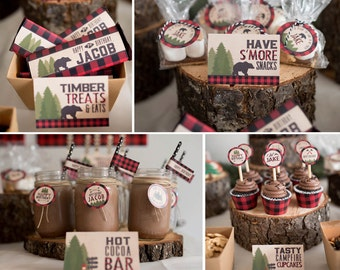 Lumberjack Happy Camper Plaid Birthday Shower Boy Printables
